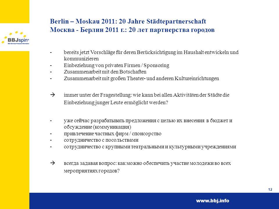 Berlin – Moskau 2011: 20 Jahre Städtepartnerschaft