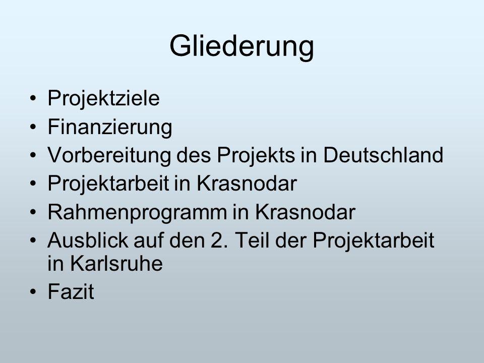 Gliederung Projektziele Finanzierung