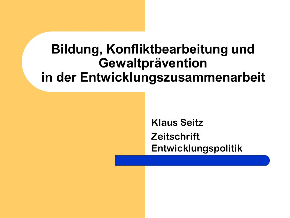 Klaus Seitz Zeitschrift Entwicklungspolitik