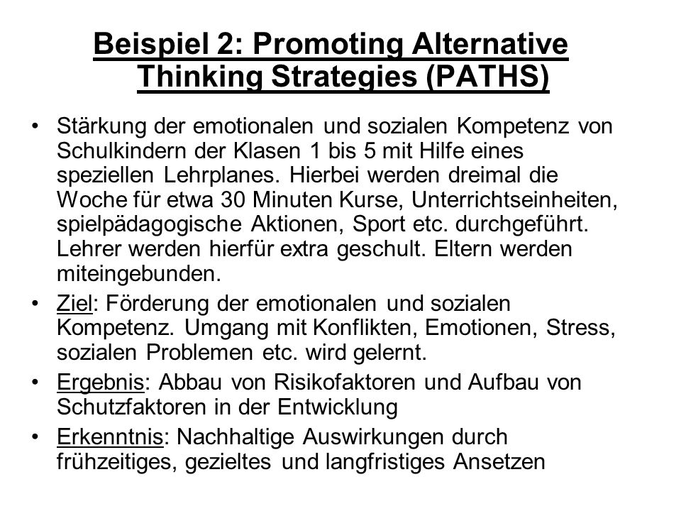 Beispiel 2: Promoting Alternative Thinking Strategies (PATHS)