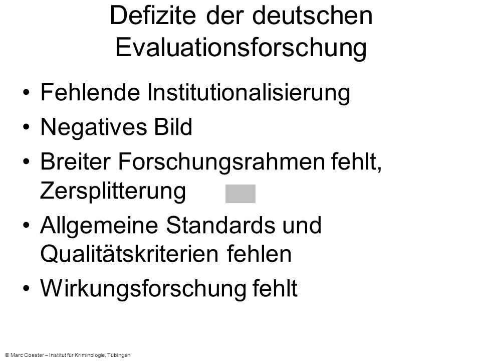 Defizite der deutschen Evaluationsforschung