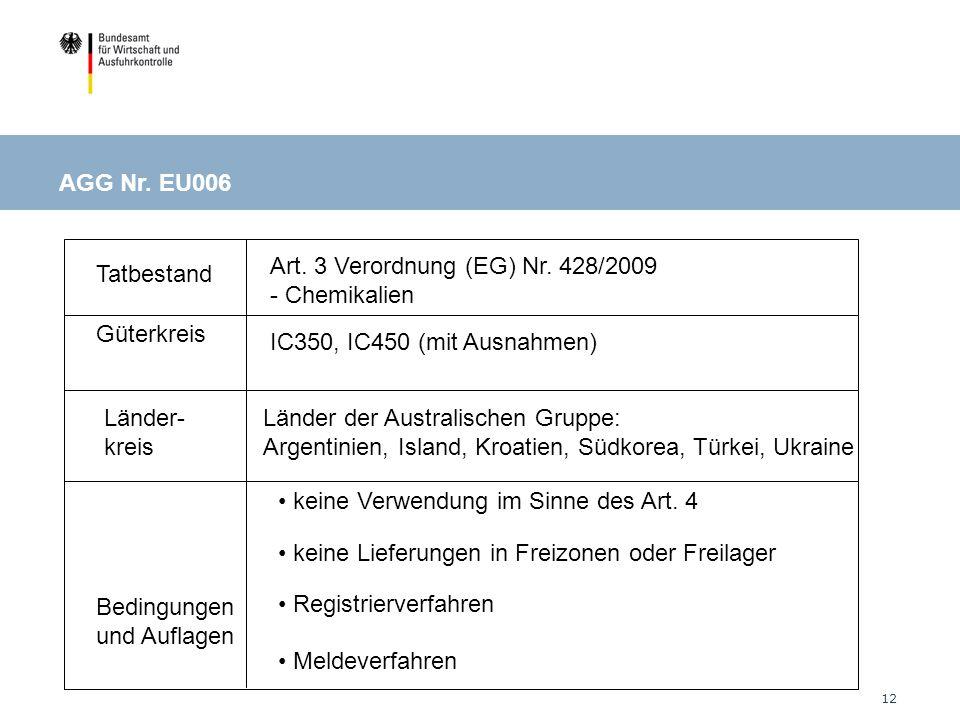 AGG Nr. EU006 Art. 3 Verordnung (EG) Nr. 428/2009 - Chemikalien. Tatbestand. Güterkreis. IC350, IC450 (mit Ausnahmen)