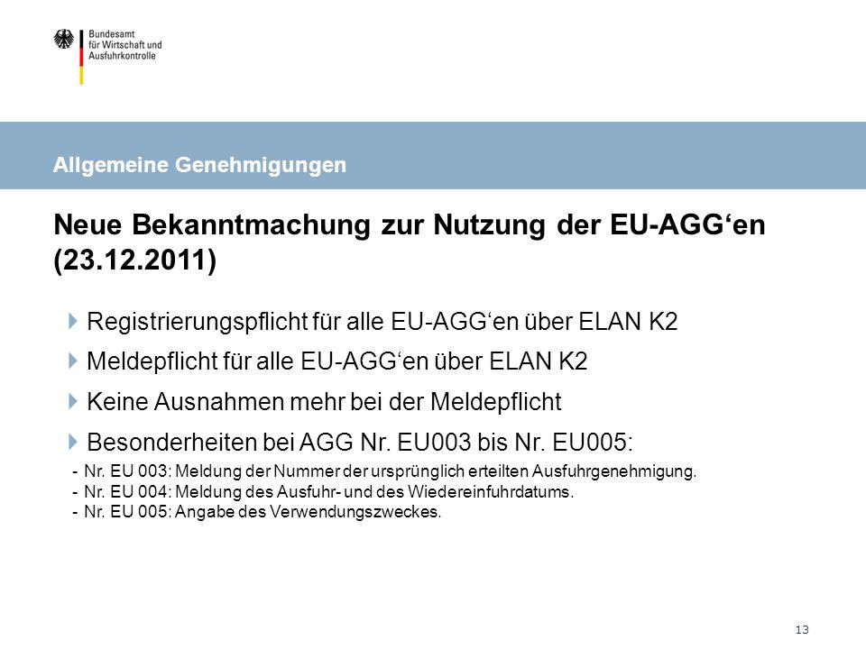 Neue Bekanntmachung zur Nutzung der EU-AGG'en (23.12.2011)