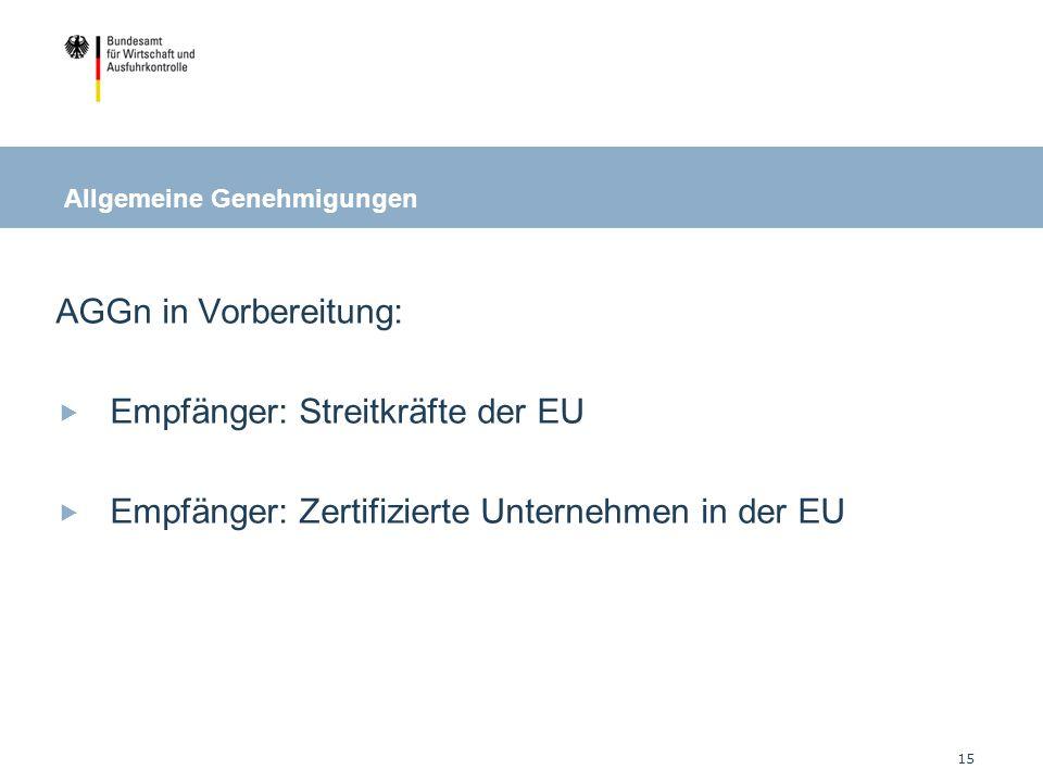 Empfänger: Streitkräfte der EU