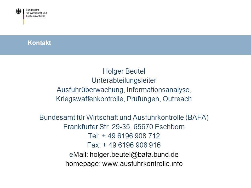 Unterabteilungsleiter Ausfuhrüberwachung, Informationsanalyse,