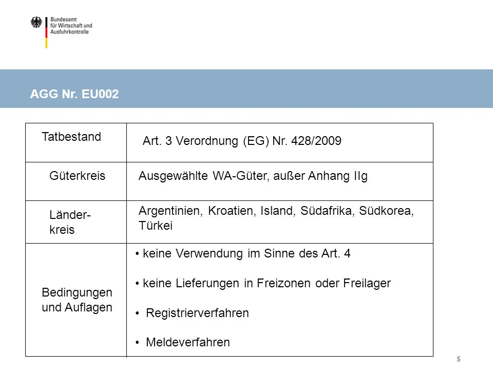 AGG Nr. EU002: bestimmte WA-Güter