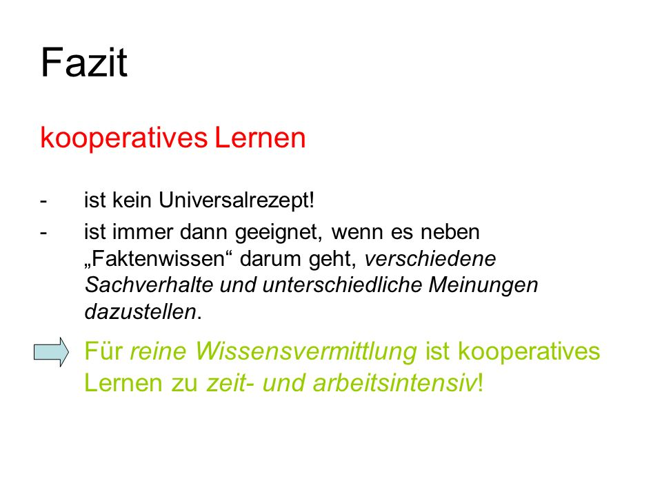 Fazit kooperatives Lernen