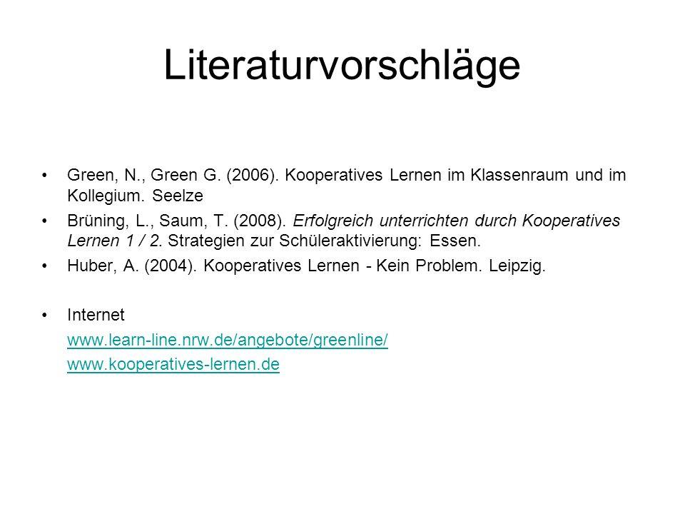 Literaturvorschläge Green, N., Green G. (2006). Kooperatives Lernen im Klassenraum und im Kollegium. Seelze.