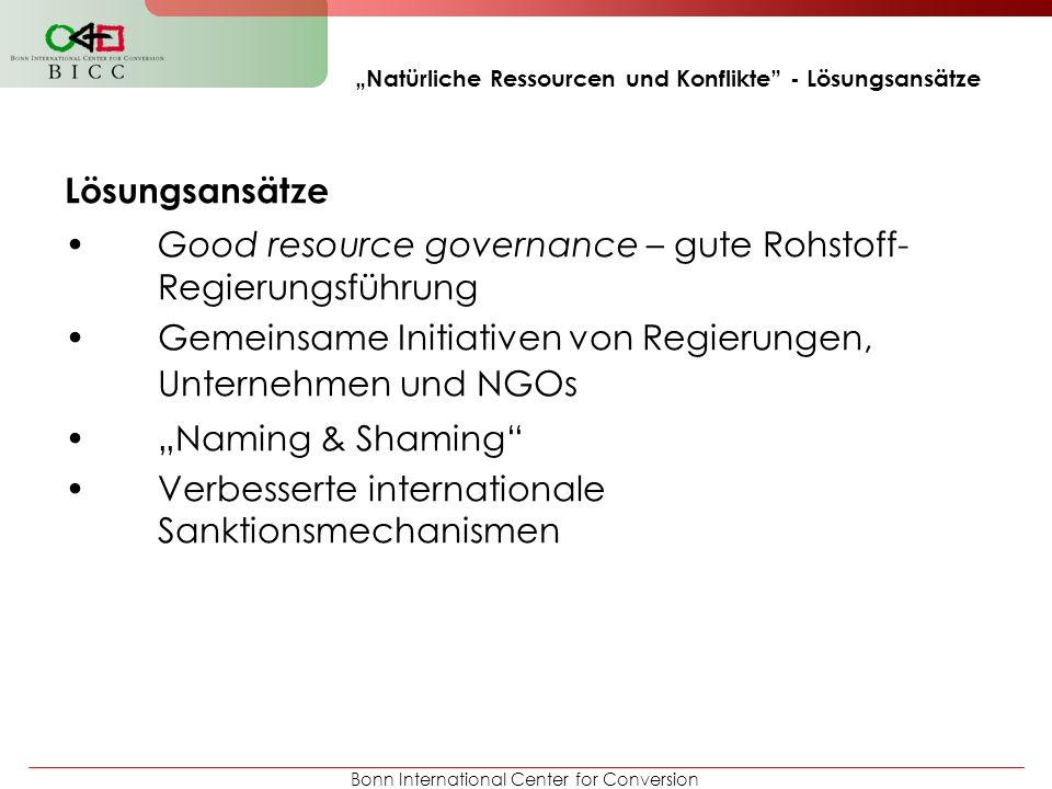 """""""Natürliche Ressourcen und Konflikte - Lösungsansätze"""