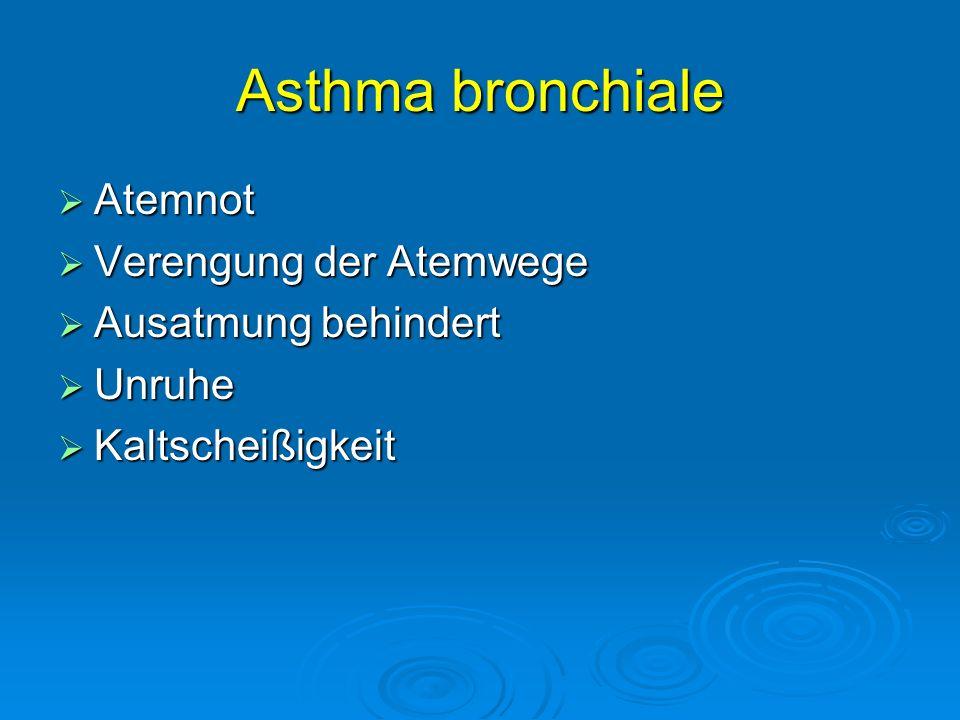 Asthma bronchiale Atemnot Verengung der Atemwege Ausatmung behindert