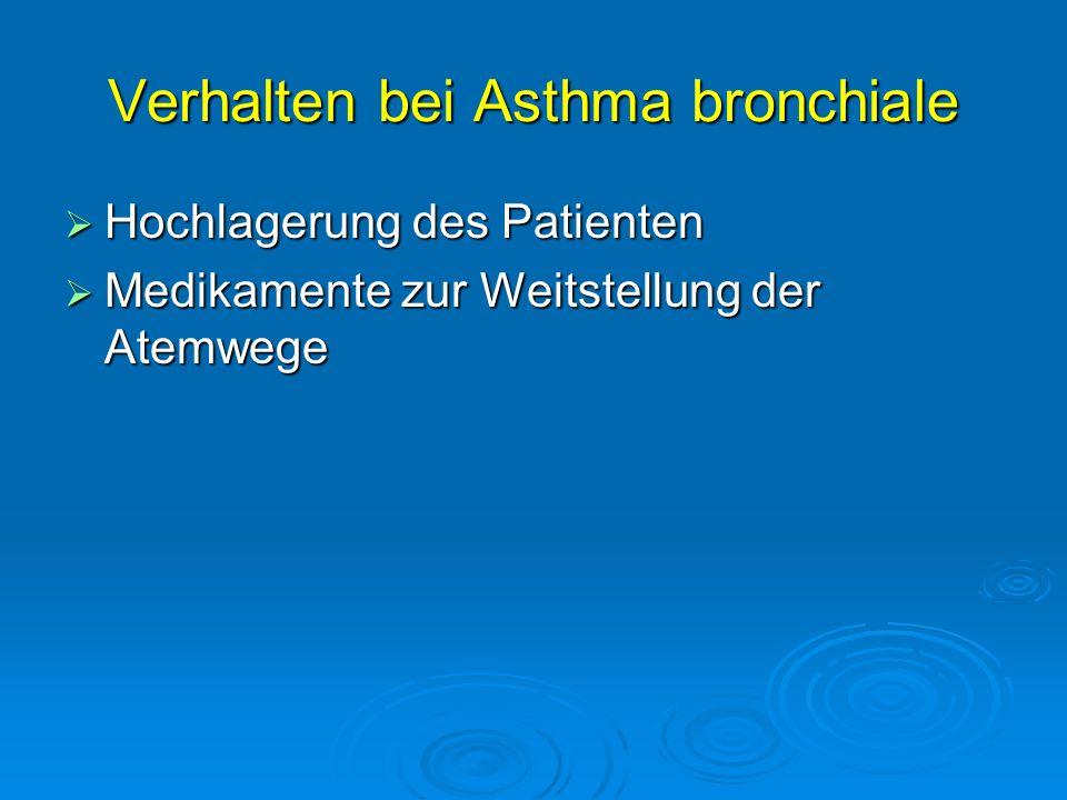 Verhalten bei Asthma bronchiale