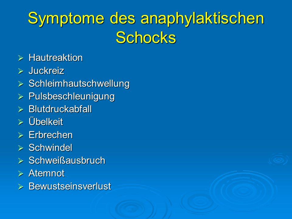 Symptome des anaphylaktischen Schocks
