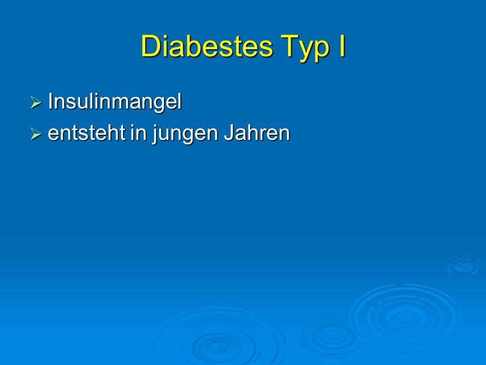 Diabestes Typ I Insulinmangel entsteht in jungen Jahren