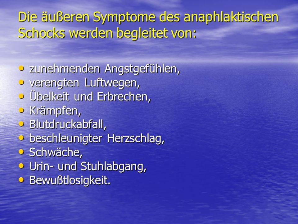Die äußeren Symptome des anaphlaktischen Schocks werden begleitet von: