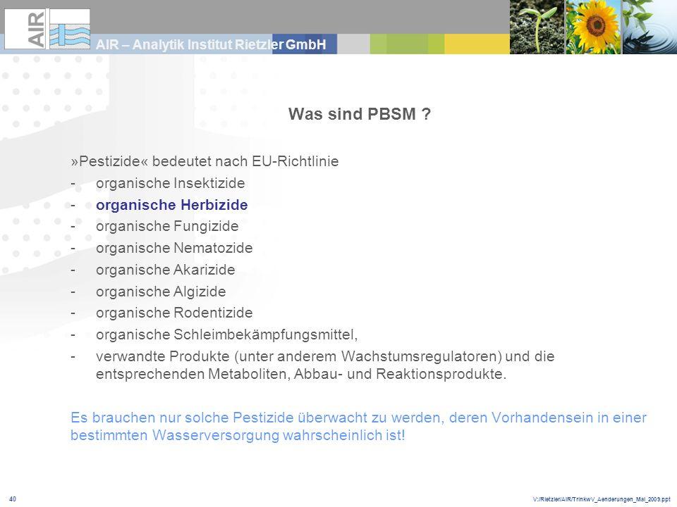 Was sind PBSM »Pestizide« bedeutet nach EU-Richtlinie