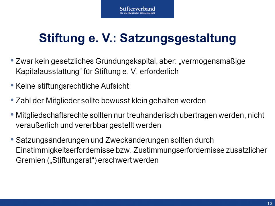 Stiftung e. V.: Satzungsgestaltung