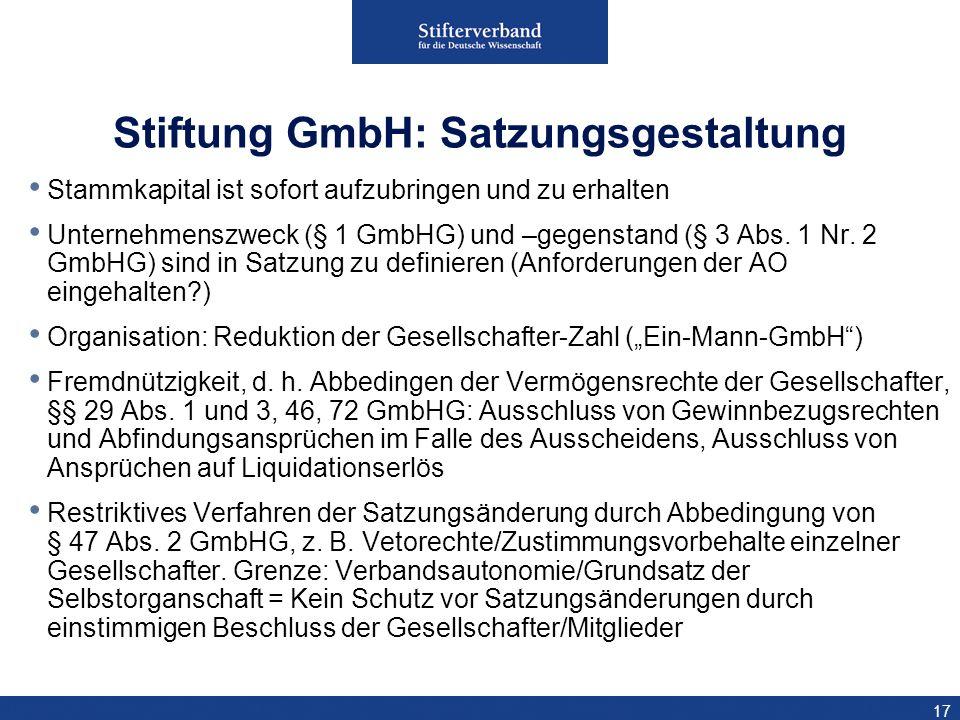 Stiftung GmbH: Satzungsgestaltung