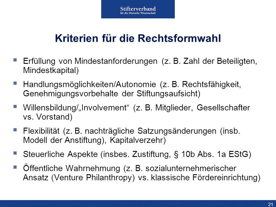 Kriterien für die Rechtsformwahl