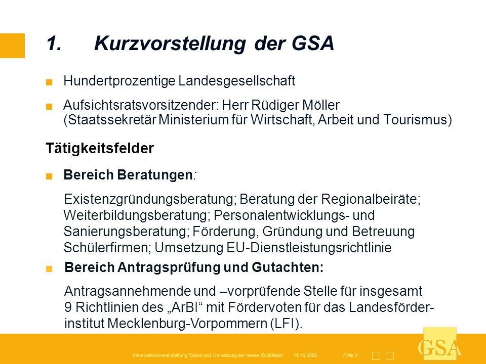 1. Kurzvorstellung der GSA