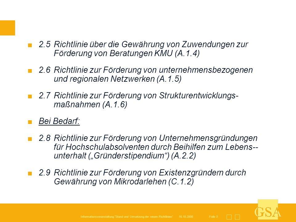2. 5. Richtlinie über die Gewährung von Zuwendungen zur