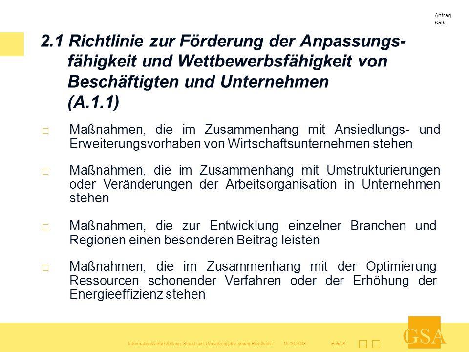 Antrag Kalk. 2.1 Richtlinie zur Förderung der Anpassungs-fähigkeit und Wettbewerbsfähigkeit von Beschäftigten und Unternehmen (A.1.1)
