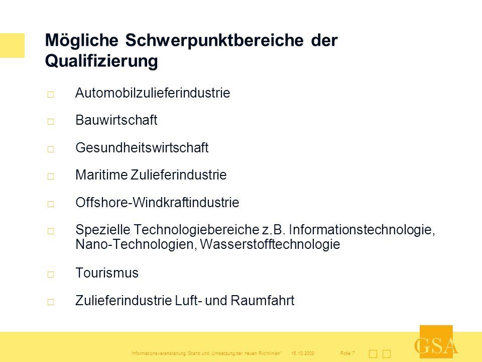 Mögliche Schwerpunktbereiche der Qualifizierung