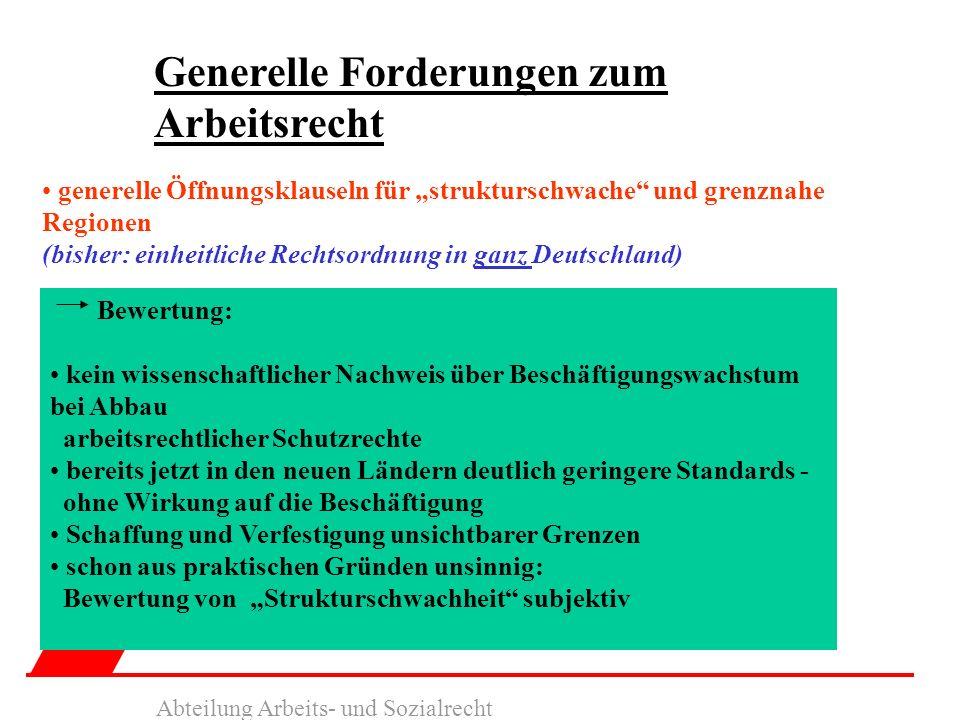 Generelle Forderungen zum Arbeitsrecht