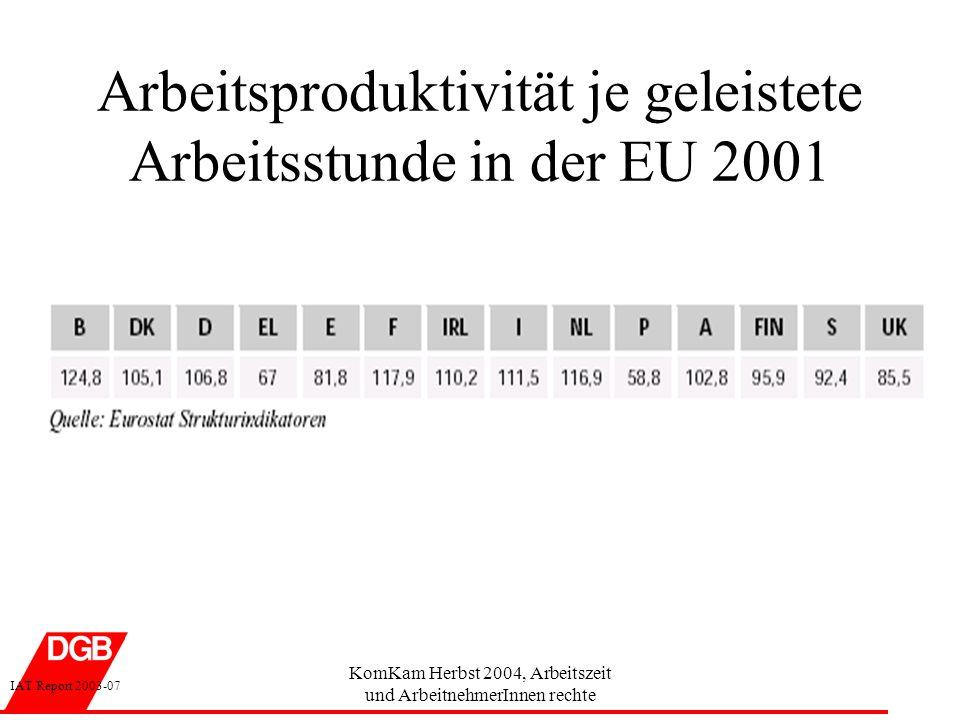 Arbeitsproduktivität je geleistete Arbeitsstunde in der EU 2001