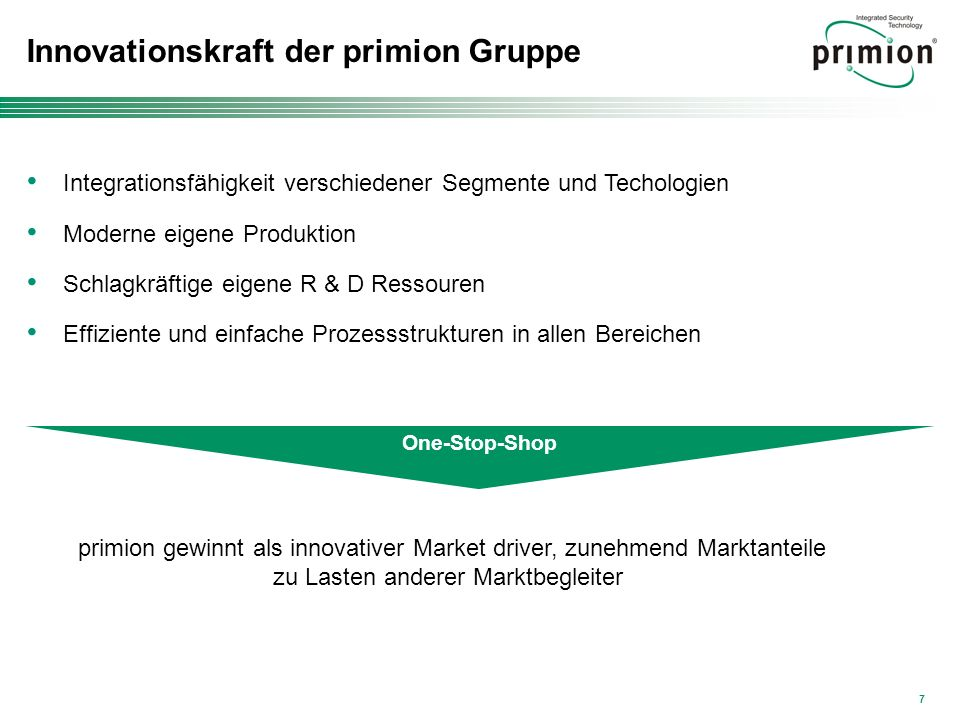 Innovationskraft der primion Gruppe