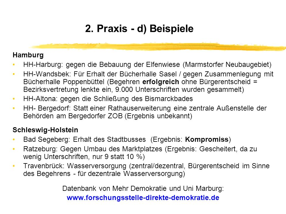 Datenbank von Mehr Demokratie und Uni Marburg: