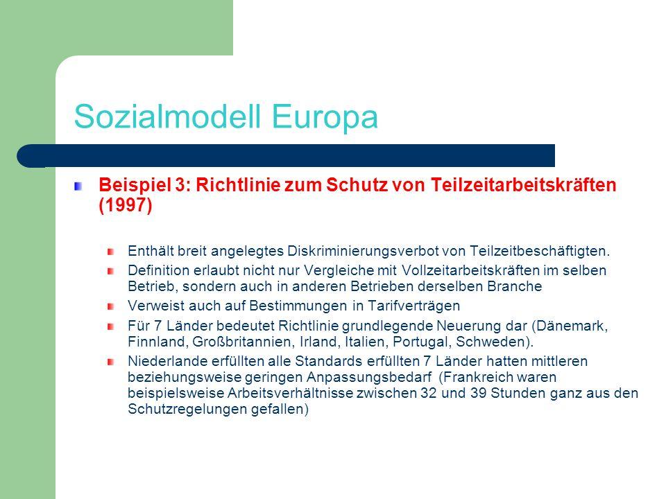 Sozialmodell Europa Beispiel 3: Richtlinie zum Schutz von Teilzeitarbeitskräften (1997)