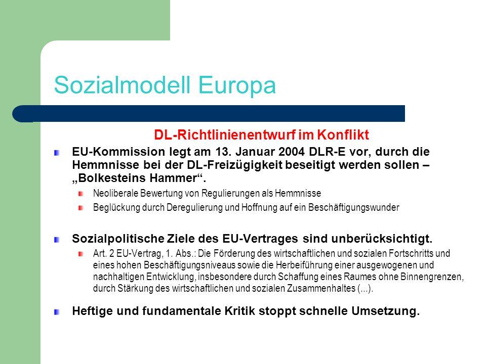 DL-Richtlinienentwurf im Konflikt