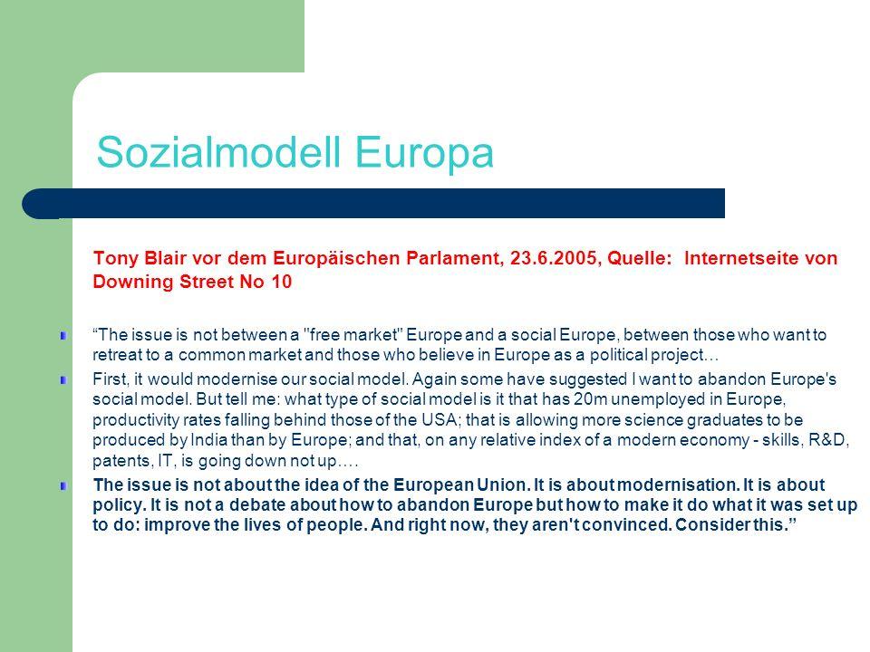 Sozialmodell Europa Tony Blair vor dem Europäischen Parlament, 23.6.2005, Quelle: Internetseite von Downing Street No 10.
