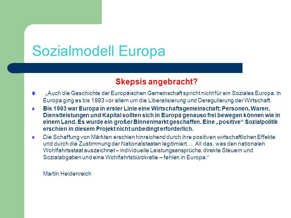 Sozialmodell Europa Skepsis angebracht