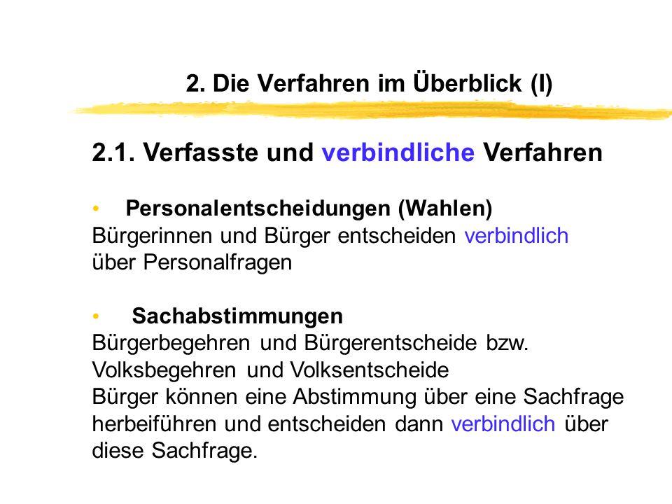 2. Die Verfahren im Überblick (I)