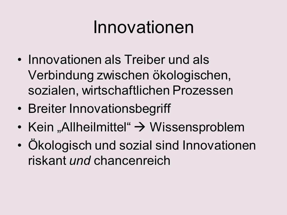 Innovationen Innovationen als Treiber und als Verbindung zwischen ökologischen, sozialen, wirtschaftlichen Prozessen.