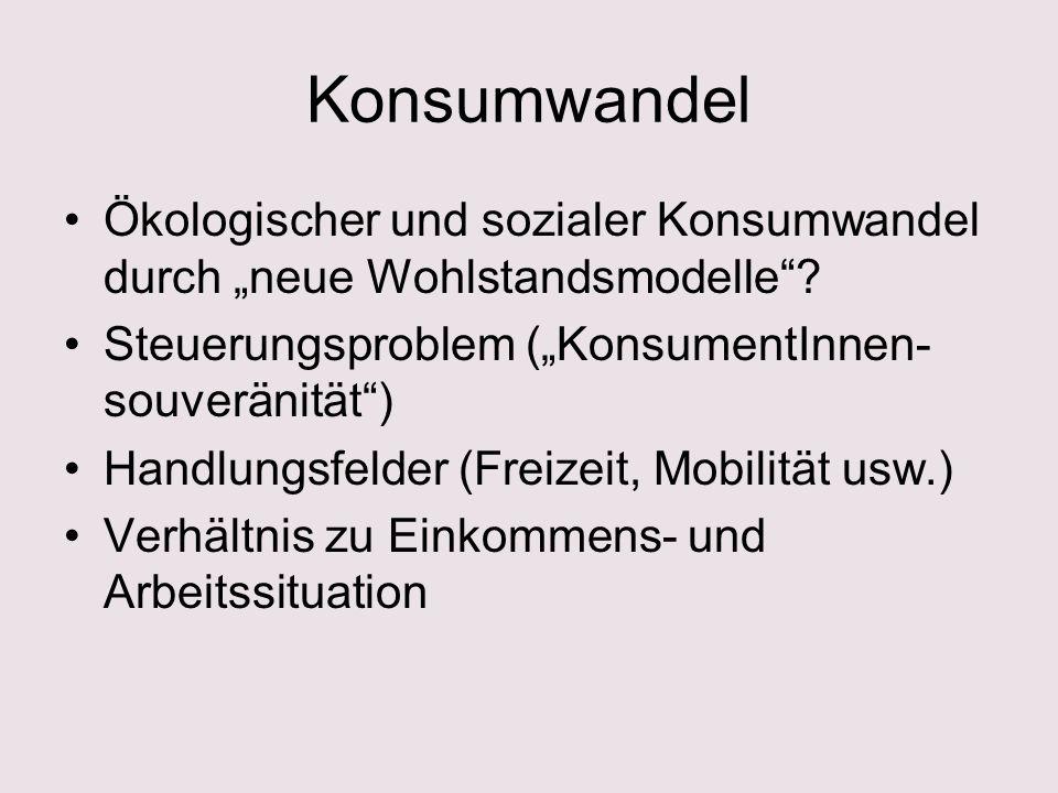 """Konsumwandel Ökologischer und sozialer Konsumwandel durch """"neue Wohlstandsmodelle Steuerungsproblem (""""KonsumentInnen-souveränität )"""