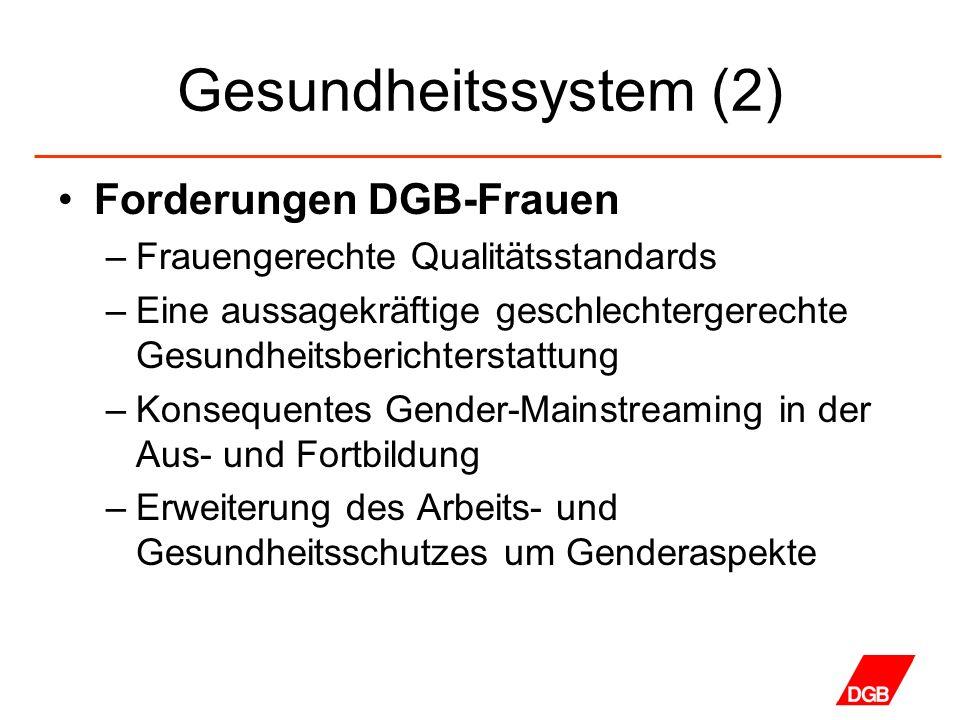 Gesundheitssystem (2) Forderungen DGB-Frauen