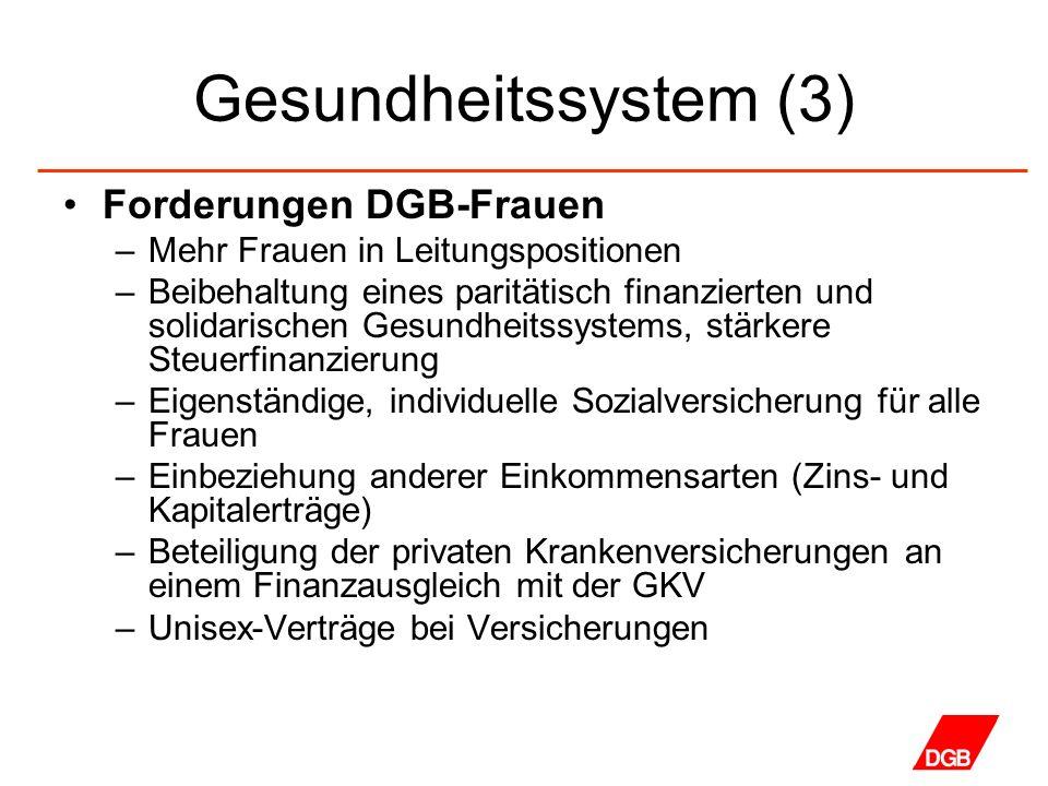 Gesundheitssystem (3) Forderungen DGB-Frauen