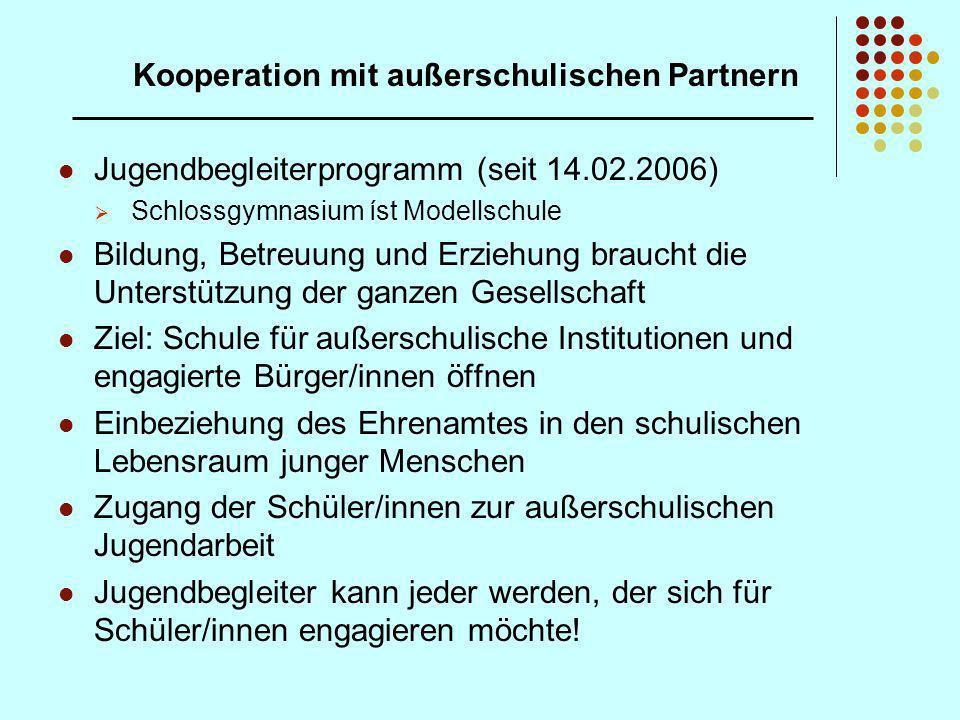 Kooperation mit außerschulischen Partnern