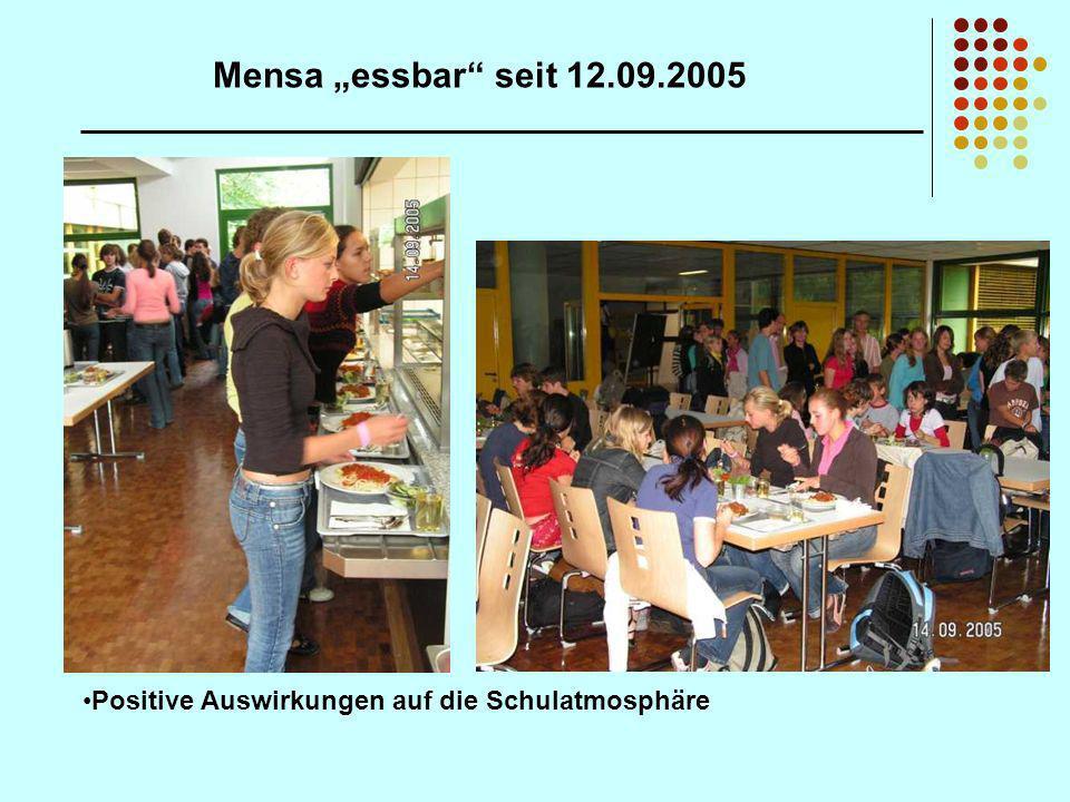 """Mensa """"essbar seit 12.09.2005 Positive Auswirkungen auf die Schulatmosphäre"""