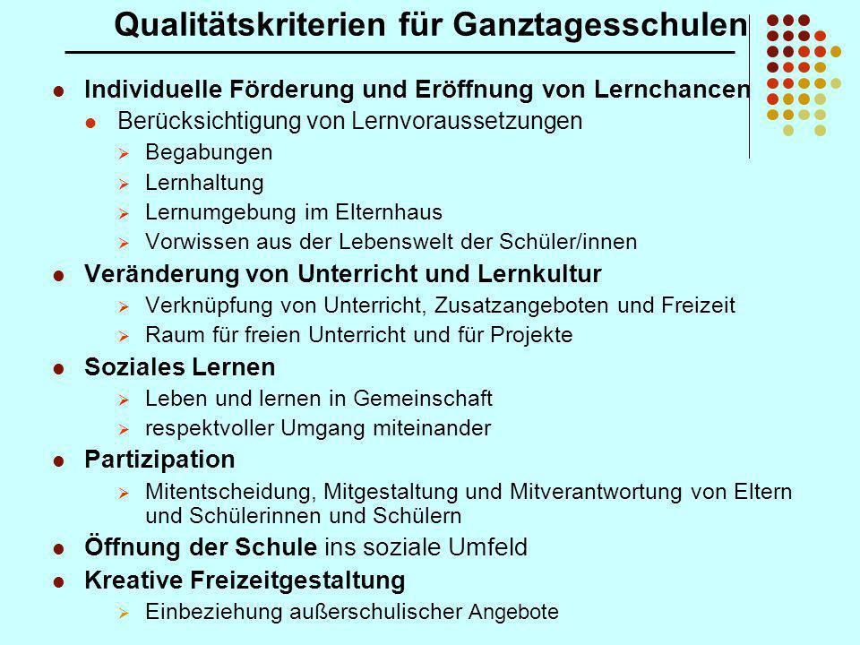 Qualitätskriterien für Ganztagesschulen