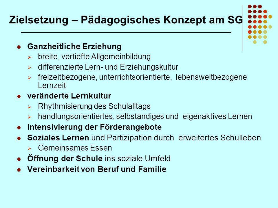Zielsetzung – Pädagogisches Konzept am SG