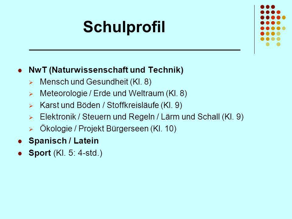 Schulprofil NwT (Naturwissenschaft und Technik) Spanisch / Latein