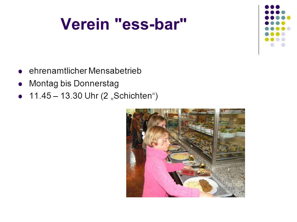 Verein ess-bar ehrenamtlicher Mensabetrieb Montag bis Donnerstag