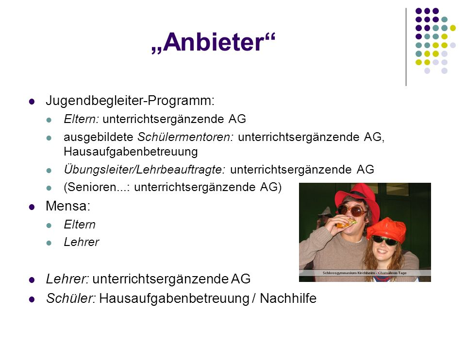 """Anbieter Jugendbegleiter-Programm: Mensa:"