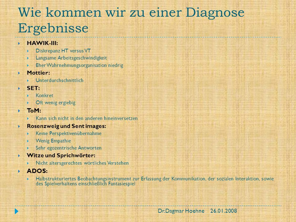 Wie kommen wir zu einer Diagnose Ergebnisse