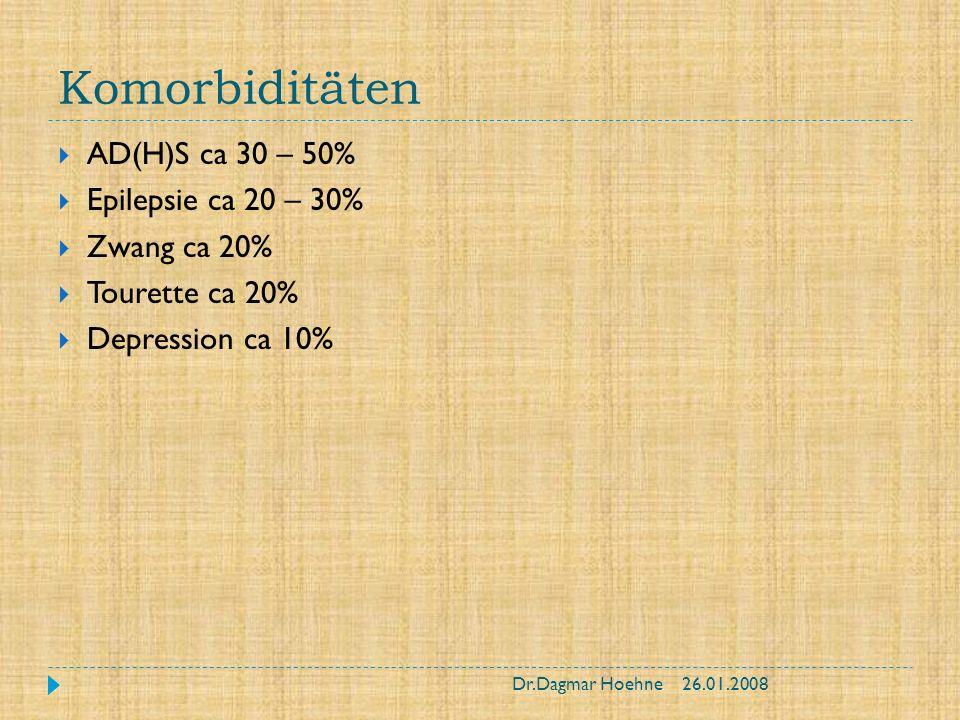Komorbiditäten AD(H)S ca 30 – 50% Epilepsie ca 20 – 30% Zwang ca 20%