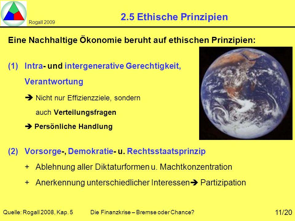 2.5 Ethische Prinzipien Eine Nachhaltige Ökonomie beruht auf ethischen Prinzipien: