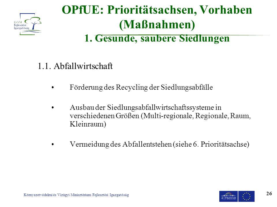 OPfUE: Prioritätsachsen, Vorhaben (Maßnahmen) 1